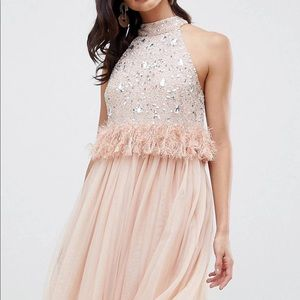 ASOS Embellished Faux Fur Dress